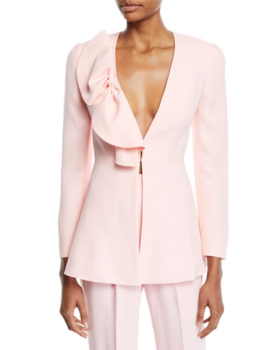 Deep-V Bow-Detail Long-Sleeve Crepe Jacket