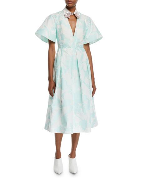 Delpozo Embellished-Collar V-Neck Short-Sleeve Floral-Print A-Line Mid-Calf Dress