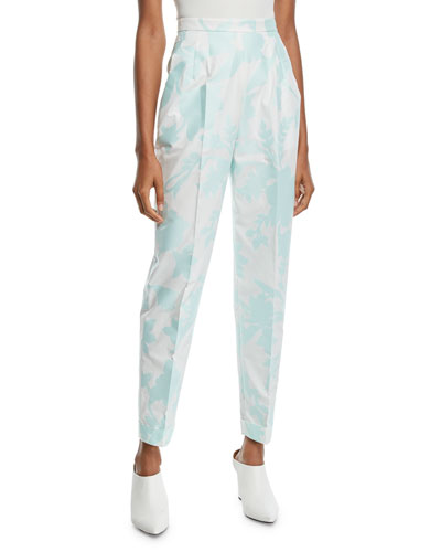 Pleat-Front Cuffed-Hem Tapered Floral-Print Fil Coupe Pants