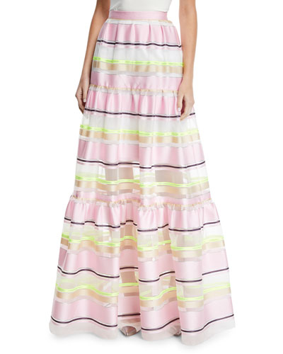 Striped-Organza Tiered Maxi Skirt
