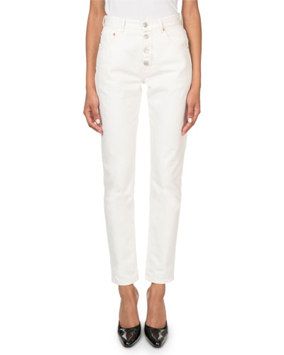 High-Rise Button-Front Stone-Wash Tube Jeans