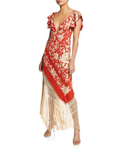 Si Llego a Besarte Embroidered Floral Flutter-Sleeve Dress with Fringe Hem