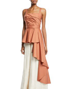 Johanna Ortiz Bulerias Sleeveless Square-Neck Side-Draped Peplum