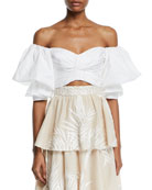 Johanna Ortiz Pearl City Off-The-Shoulder Bow-Back Puff-Sleeve