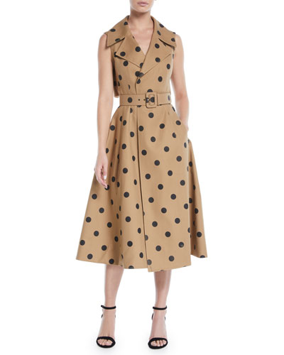 Sleeveless Polka-Dot Twill Tea-Length Dress w/ Wide Belt