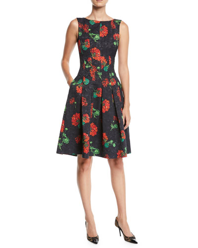 Sleeveless Floral-Jacquard 2-Pocket Fit-and-Flare Dress