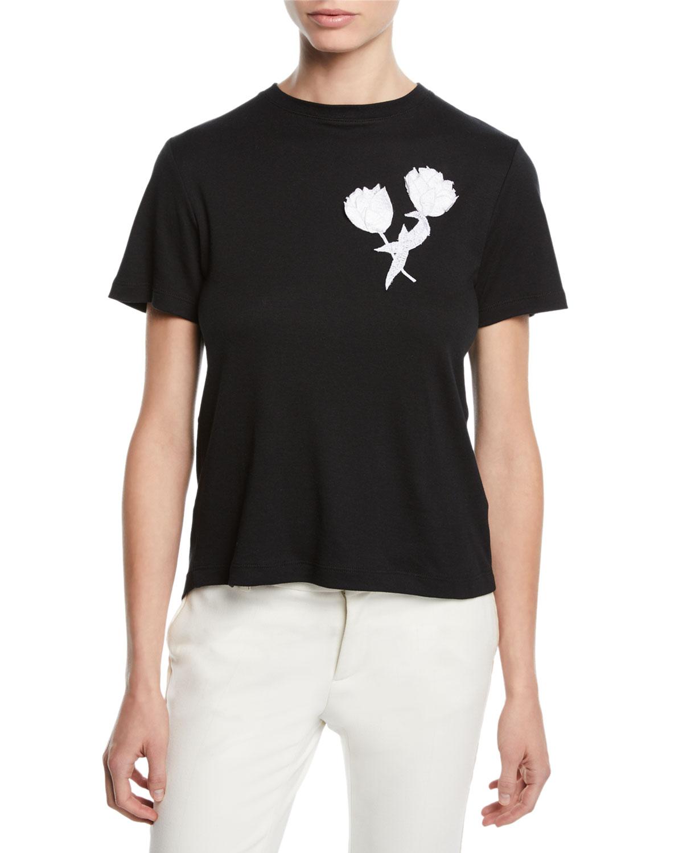 Tulip-Embroidered Tieback Crewneck Short-Sleeve Cotton Tee in Black