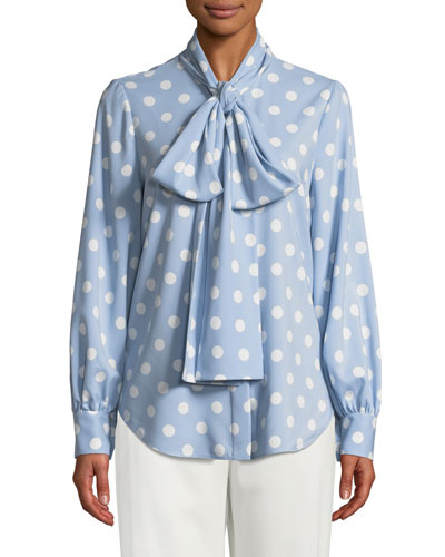 Polka-Dot Tie-Neck Button Front Blouse