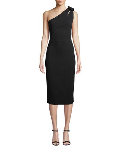 One-Shoulder Loop Detail Midi Dress