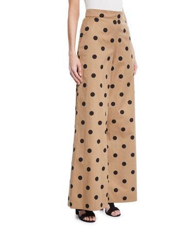 Polka-Dot Wide-Leg Pants