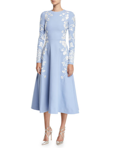 4ac83f712d88 Floral Embroidered Midi Dress