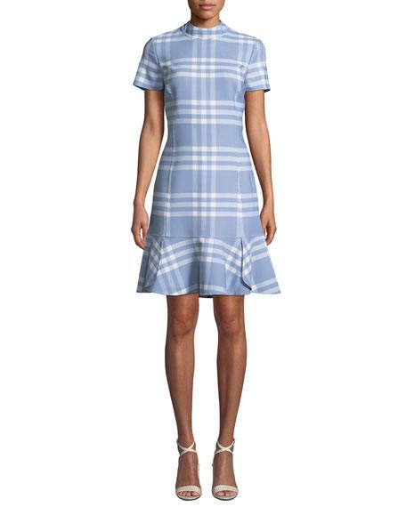 Oscar de la Renta Short-Sleeve Wool-Blend Plaid Shift Dress w/ Flounce