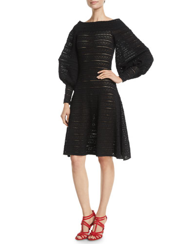 Full-Sleeve Off-the-Shoulder A-Line Pointelle Knit Dress