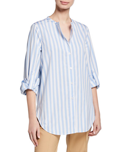 Striped Jewel-Neck Button-Front French-Cuff Blouse