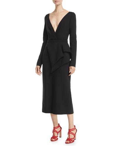 Deep-V Long-Sleeve Peplum-Waist Stretch-Wool Midi Dress