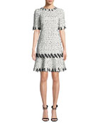 Oscar de la Renta Jewel-Neck Short-Sleeve Ribbon-Trim Dress