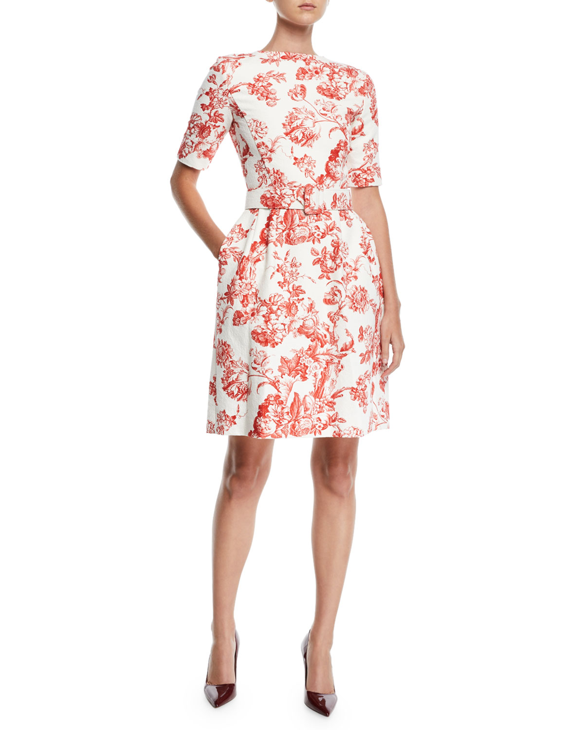High-Neck Short-Sleeve Belted Toile Fit-and-Flare Daytime Dress