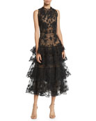 Oscar de la Renta Sleeveless Floral-Embroidered Tiered Tulle