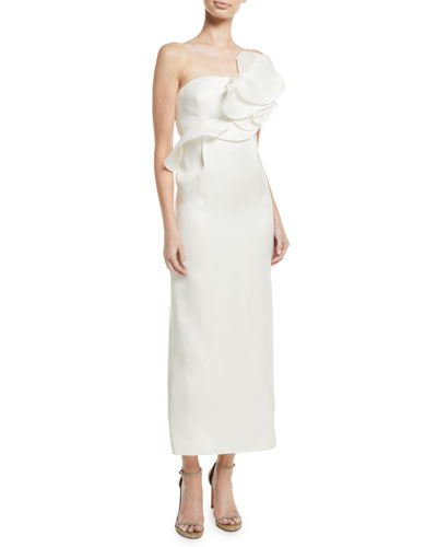 Strapless Ruffle A-Line Tea-Length Silk Gown