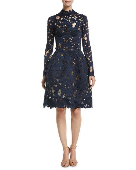 Oscar de la Renta Long-Sleeve Floral-Guipure Fit-and-Flare Cocktail Dress