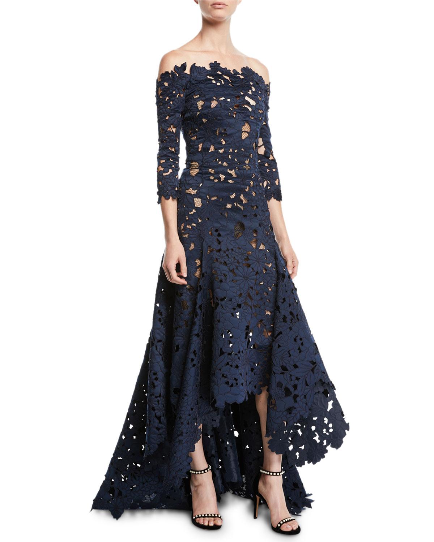 56232870fe5e8 Blue OSCAR DE LA RENTA Off-the-Shoulder 3/4-Sleeve High-Low Cutout Lace  Satin Evening Gown 12 - 14 (L) on COOLS