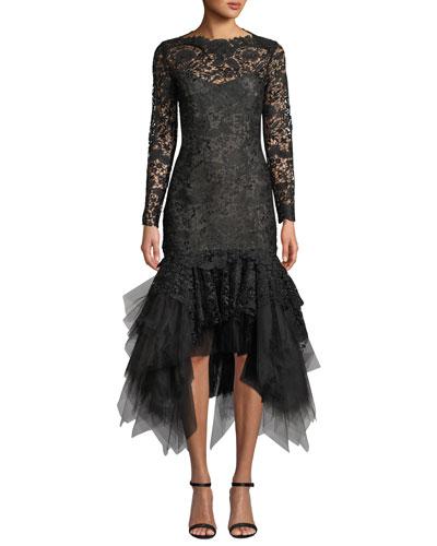 Floral Lace Illusion Tulle-Flounce Dress