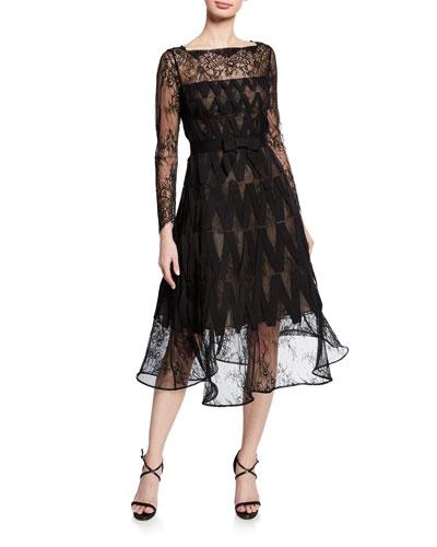 Lace Illusion Long-Sleeve A-Line Dress