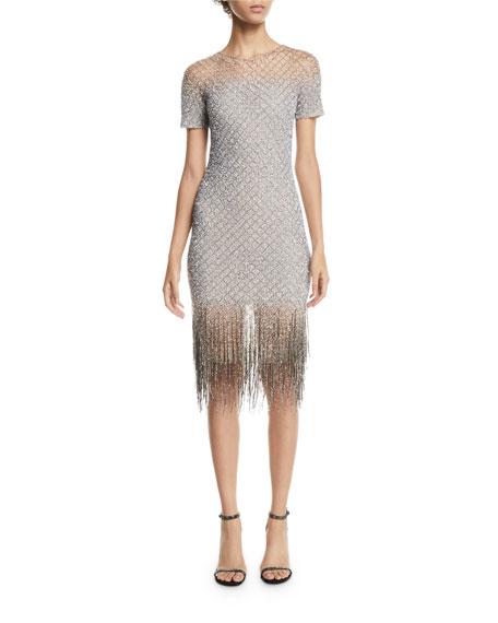 Nanette Lepore Funkytown Sequin Mid Length Slip Dress With