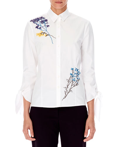 9b14e543e7 Quick Look. Carolina Herrera · 3/4-Sleeve Floral-Embroidered Button-Front  ...