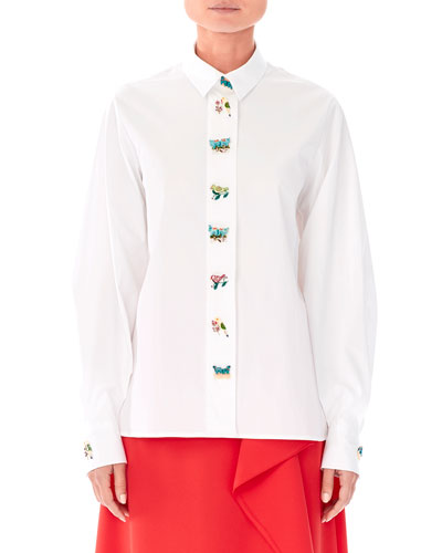 Animal-Buttons Collared Cotton Shirt