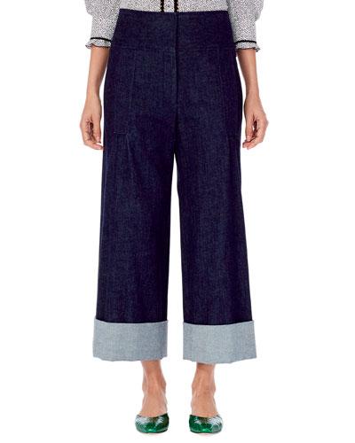Wide-Leg Cropped Denim Pants