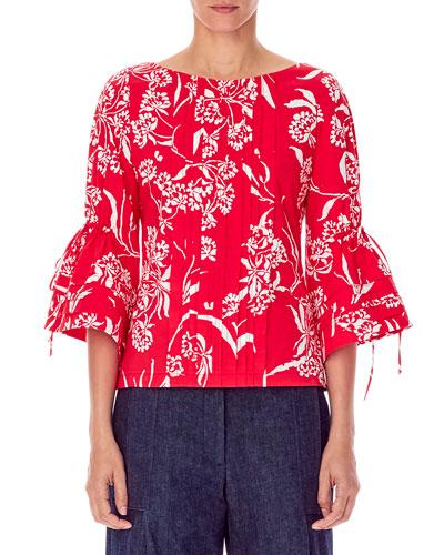 Flutter-Sleeve Bateau-Neck Pleated Floral-Print Blouse