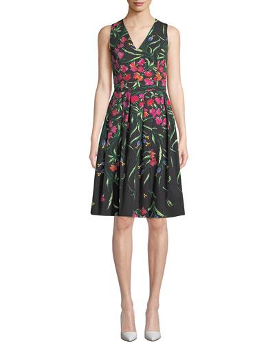 4cdcbc40084 Quick Look. Carolina Herrera · Sleeveless V-Neck Floral Pleated Dress