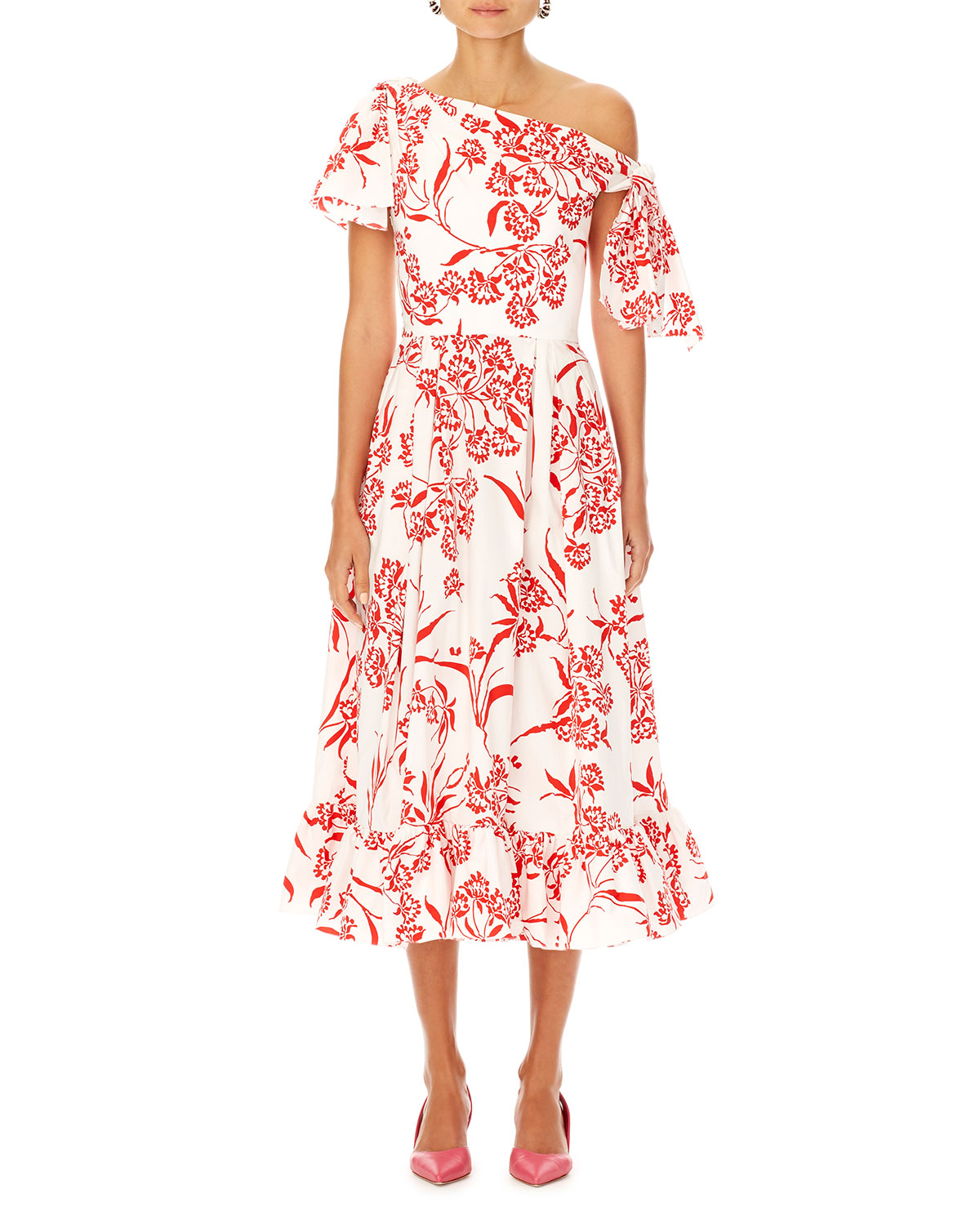 Asymmetric Floral-Print Cotton Dress w/ Knot Detail
