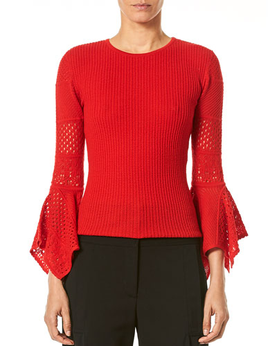 3/4-Sleeve Pointelle-Lace Knit Pullover Sweater