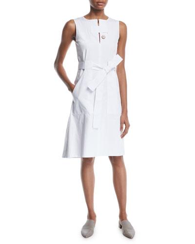 21d3113bf1 Quick Look. Rosetta Getty · Sleeveless Tab-Neck Belted Cotton Poplin Dress