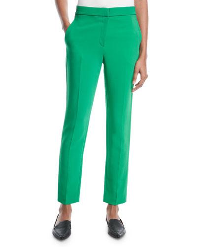 Cropped Skinny-Leg Stretch-Cady Trousers