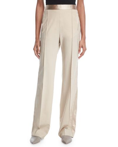 Pintuck High-Waist Stretch-Wool Poplin Tuxedo Track Pants