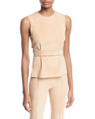 Rosetta Getty Wrap-Back Crewneck Sleeveless Stretch-Suede Top