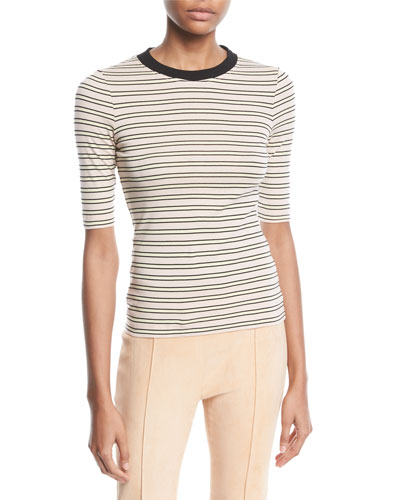Crewneck Short-Sleeve Striped Cotton-Jersey Cropped T-Shirt