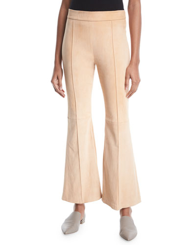 Pintuck Flared-Leg Stretch-Suede Pants