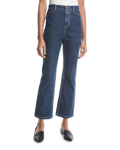 High-Waist Skinny Flare Cropped Jeans