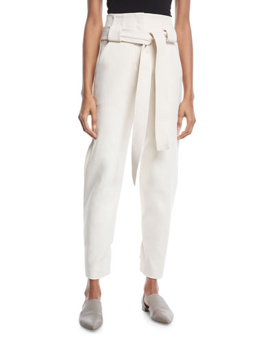 Belted High-Waist Stretch-Cotton Cropped Pants