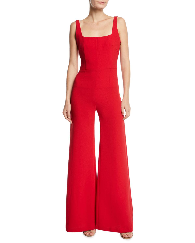 cb571ea7c31 Galvan Sunrise Square-Neck Flare-Leg Jumpsuit In Red