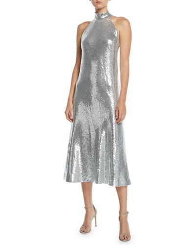 Halter Sequined Dress Neiman Marcus