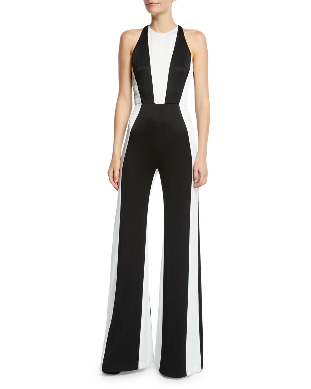 Marlene Two-Tone Matte Crepe Jumpsuit in Black/White