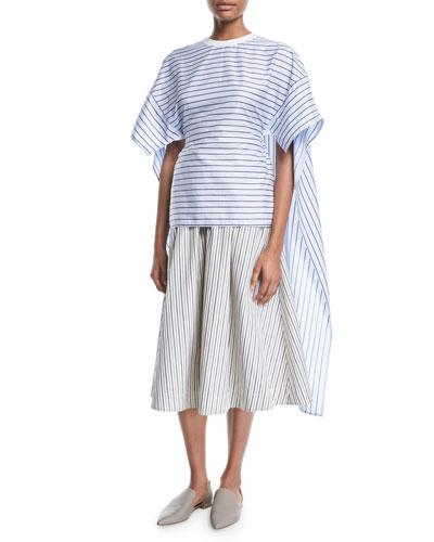 Crewneck Short-Sleeve Striped Shirting Cape-Back Top