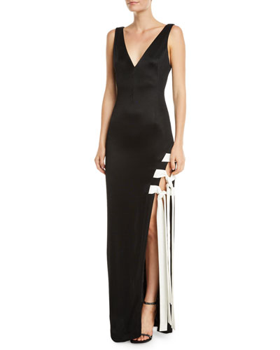 Sleeveless Lace-Up High-Slit Jersey Gown