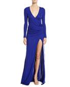 Galvan Allegra Long-Sleeve V-Neck Slit-Leg Gown