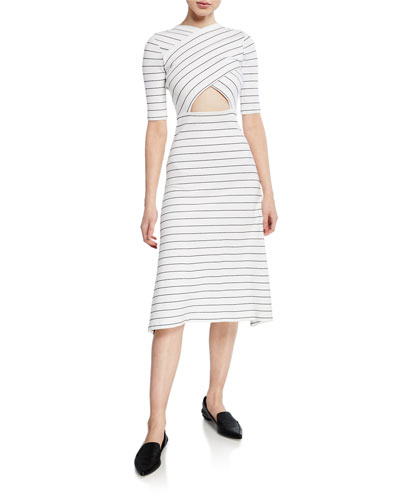 Crossover Cutout Pinstripe Short-Sleeve Midi Dress